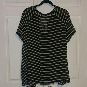 a.n.a Tops - Black and white striped sheer A.N.A. top, 3X